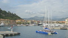 Ninah catamaran boat returning to the old port of Nice Stock Footage