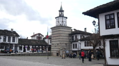 Old center in Tryavna - ancient architecture town-museum in Bulgaria Stock Footage