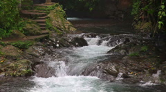 Stairway at Gitgit Waterfall on the Bali, Indonesia - stock footage