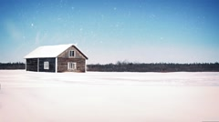Old Wooden Farm House In Snowfall Stock Footage