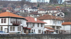 Beautiful buildings in Tryavna - ancient architecture town-museum in Bulgaria Stock Footage