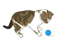 Kitten with ball of yarn Stock Illustration