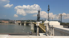 Margaret bridge slider shot - Budapest, Hungary Stock Footage