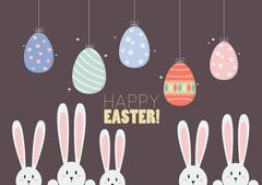 Colorful hanging easter eggs with bunnies Stock Illustration