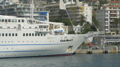 Yacht named Club Med 2 anchored in the harbor of Nice - stock footage
