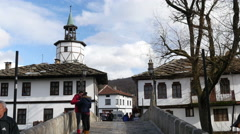 Old buildings in Tryavna - ancient architecture town-museum in Bulgaria Stock Footage