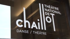 Palais de Chaillot Entrance in Paris, France Stock Footage