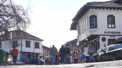 Old buildins in Tryavna - ancient architecture town-museum in Bulgaria Stock Footage