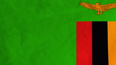 Zambian flag waving in the wind (full frame footage) Stock Footage