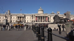 Trafalgar Square tourism National Gallery of Art 4K Stock Footage