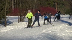 Ski training run in winter Park on snow. Stock Footage