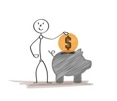 rich man with coin - stock illustration