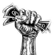 Revolution fist holding money concept Stock Illustration