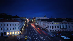 Nevsky Prospect, Green Bridge, River Moika Stock Footage