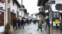 Rain in Tryavna - old town-museum in the center of Bulgaria Stock Footage