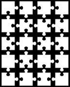 white puzzle 12 - stock illustration