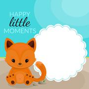 Frame with little fox and place for text - stock illustration