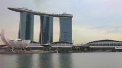 Marina Bay Sands is a resort fronting Marina Bay Stock Footage