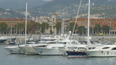 Sailboats moored in Port Lympia, Nice Stock Footage