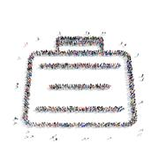 Stock Illustration of people  shape  case briefcase icon