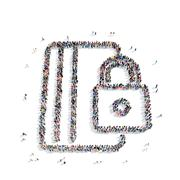 People  shape  documents lock Stock Illustration