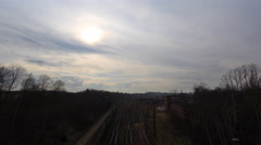 4k Many railway lines clouds timelapse near Braunschweig station Stock Footage