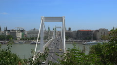 Budapest traffic, Elizabeth bridge slider shot - Hungary Stock Footage