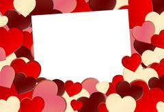 Red Heart Shape Background - stock illustration