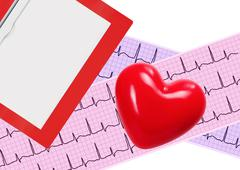 Heart analysis, electrocardiogram graph (ECG), clipboard and red heart Kuvituskuvat