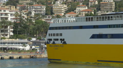 A ferryboat sailing on the Mediterranean Sea heading to the port of Nice Stock Footage