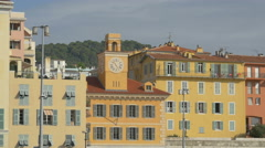 The clock tower of a beautiful building in Port Lympia, Nice Stock Footage