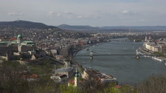 Budapest panorama cityscape of Danube river and castle hill  Stock Footage