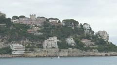 Buildings along the coastline of Nice Stock Footage