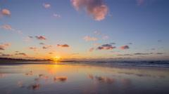 Sunset Cloud Reflex Timelapse Atlantic Ocean view at Tamaris beach Stock Footage