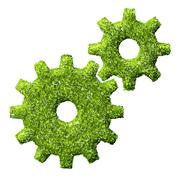 Cogs or gears from the green grass. Stock Illustration