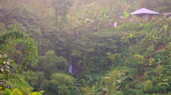 Small village among tropical trees  in the balinese jungle Stock Footage