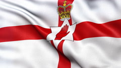 4K Northern Ireland flag seamless loop Stock Footage