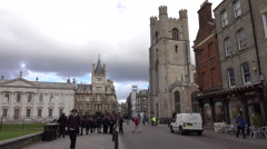 Cambridge England downtown city street cathedral 4K Stock Footage