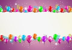 Backgroud with balloons and torn paper Stock Illustration