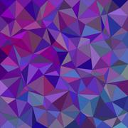 Purple irregular triangle mosaic background - stock illustration