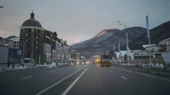 Driving shot with roof mounted camera, street in Krasnaya Polyana Sochi, Russia. Stock Footage