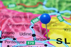 Gorizia pinned on a map of Italy - stock photo