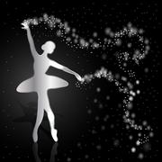 Silver ballerina on dark background - stock illustration