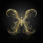 Stock Illustration of Gold swirl pattern in shape of a butterfly
