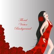 Young beautiful dancer girl in red dress of roses - stock illustration