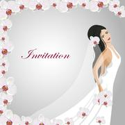 Invitation card with a beautiful bride - stock illustration