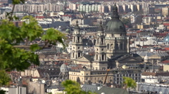 Budapest cityscape. Aerial view of St. Stephen's Basilica - stock footage