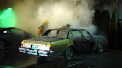 Firefighters Respond To Car Fire - stock footage