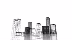 Blueprint of business district of the city rising out of the ground Stock Footage