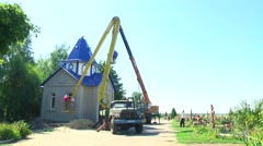 Construction of the church to the cemetery Stock Footage
